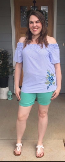 Worn with Liverpool Braiden Denim Shorts in mint from Stitch Fix and Merona sandals from Target