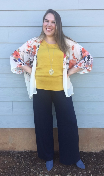Stitch Fix Bishop + Young Flin Kimono, Noisy May Catriona Blouse, Kaileigh Adalia Knit Jumpsuit, Sole Society Azure Suede Bootie