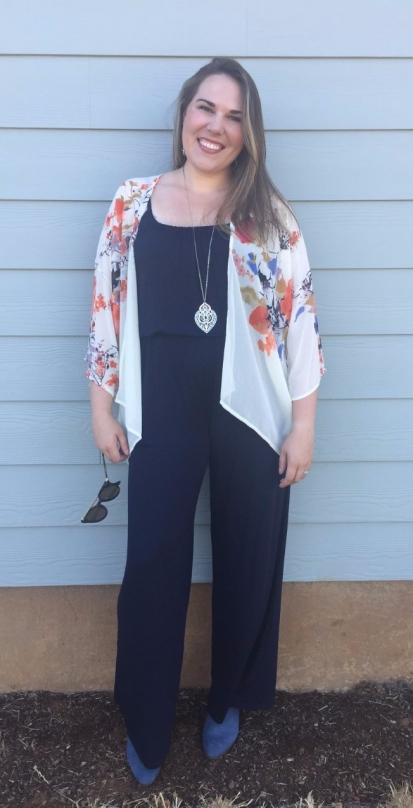 Stitch Fix Kaileigh Adalia Knit Jumpsuit, Bishop + Young Flin Kimono, Sole Society Azure Suede Bootie