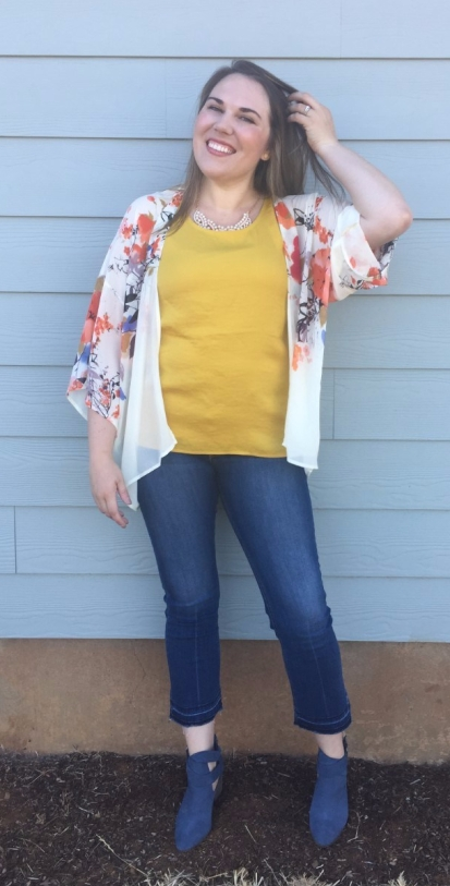 Stitch Fix Noisy May Catriona Blouse, Sole Society Azure Suede Bootie, Bishop + Young Flin Kimono