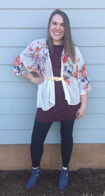 Stitch Fix RD Style Kalla Knit Dress, Bishop + Young Flin Kimono, Sole Society Azure Sude Bootie